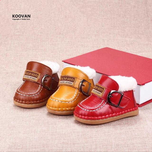 Koovan Botas 2017 botas de Nieve Botas zapatos de Bebé de Los Niños del Bebé Zapatos Calientes Del Invierno Para Niñas niños Inferiores Suaves de Cuero Genuino
