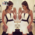 THYY Sexy Spaghetti Strap Bodycon Dress Women Black White  Patchwork Mini Dress 2017 Fashion Brief Summer Women Dress