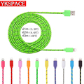 1M 2M 3M Colorful Data Sync Cable Fabric Braided Wire 8pin adapter USB Charger Cables for iPhone 5 5s 6 6S plus 7 ipad Air IOS