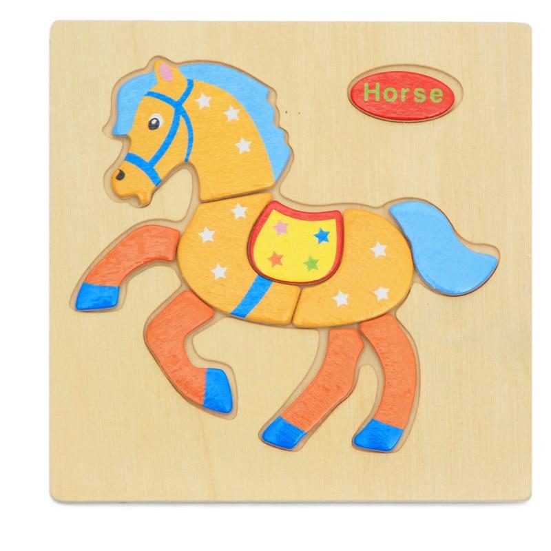 1PIECE Tecknad Djur Form Trä 3D Pussel Barn Baby Barn Intelligens - Spel och pussel - Foto 3