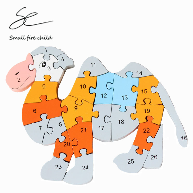2017 New early education supplies baby 26 English alphanumeric knowledge animal wooden puzzle camel puzzle intellectual toys