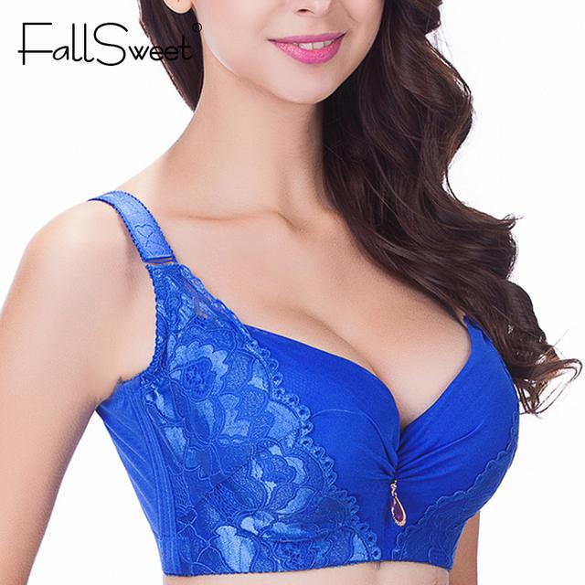 FallSweet Sexy women bra,plus size D E cup push up bra brassiere,side adjustment underwear 85 90 95 100 105