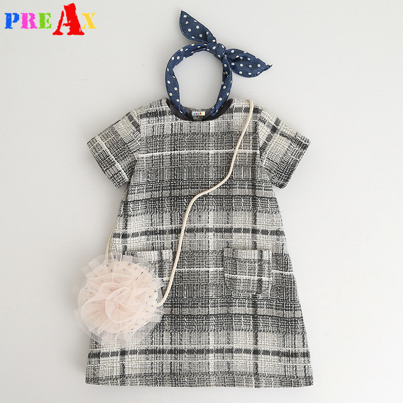 Brand Baby Girls Dress Plaid Short Sleeve Woolen Princess Dresses for Girls Clothing A Line Pink Party Dress for Girls Customes day dress