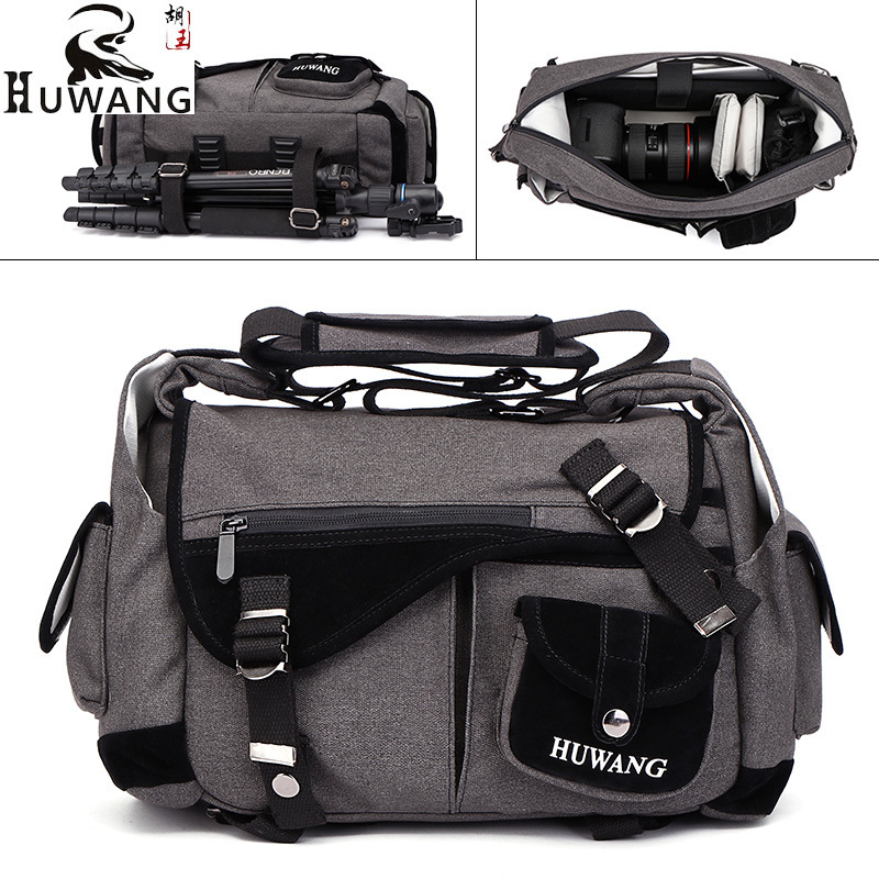 2018 Huwang Photo Camera DSLR Video Canvas Shoulder Waterproof Bag Travel Tripod Soft Padded Case Carrying Bags for Canon Nikon 1pc waterproof protective camera shoulder bag portable carrying case bag 3 sizes for canon nikon camera mayitr