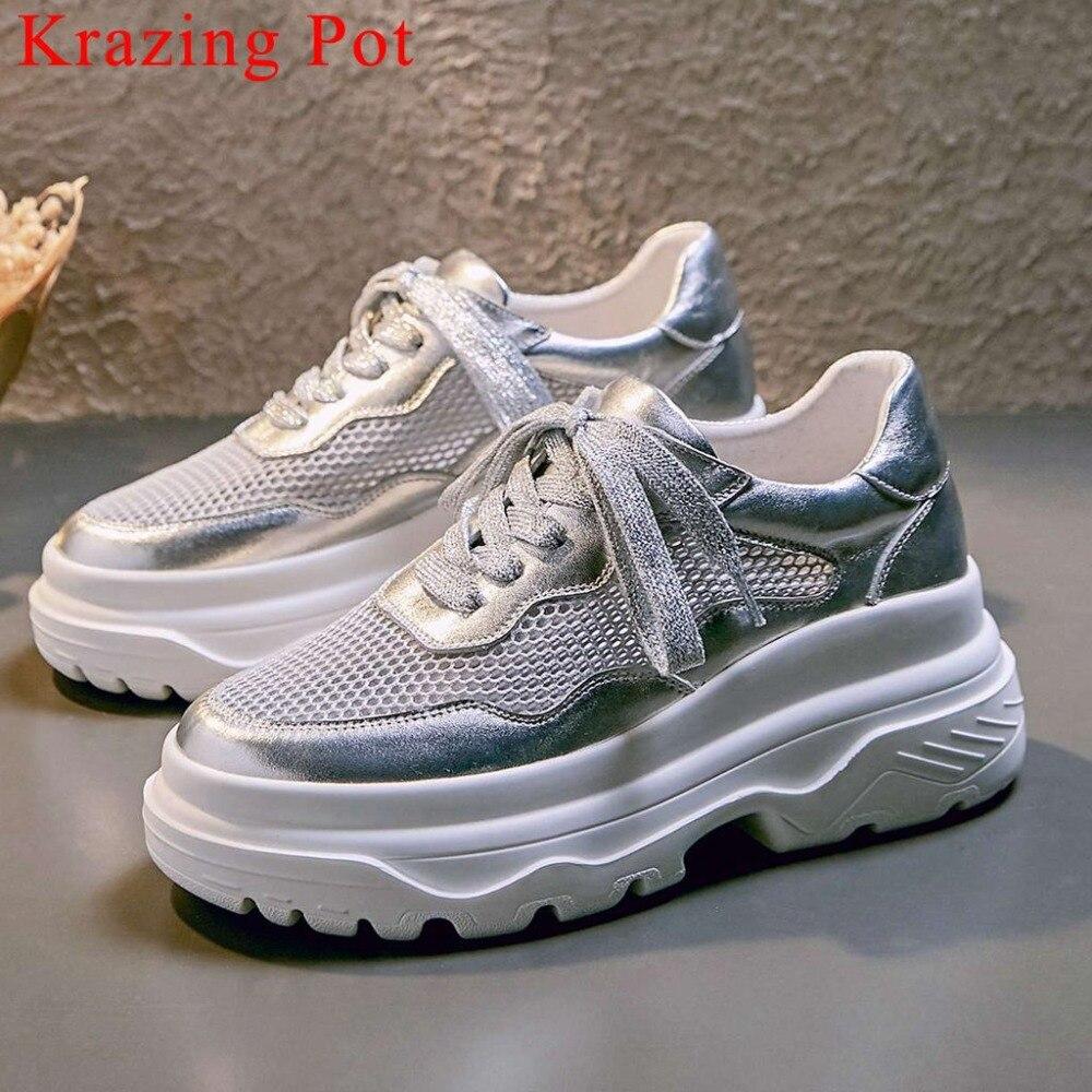 Krazing Pot nieuwe aankomst mesh goed geventileerde hoge bodem lace up sneakers ronde neus natuurlijke lederen sneakers gevulkaniseerd schoen l16-in Sneakers voor vrouwen van Schoenen op  Groep 1