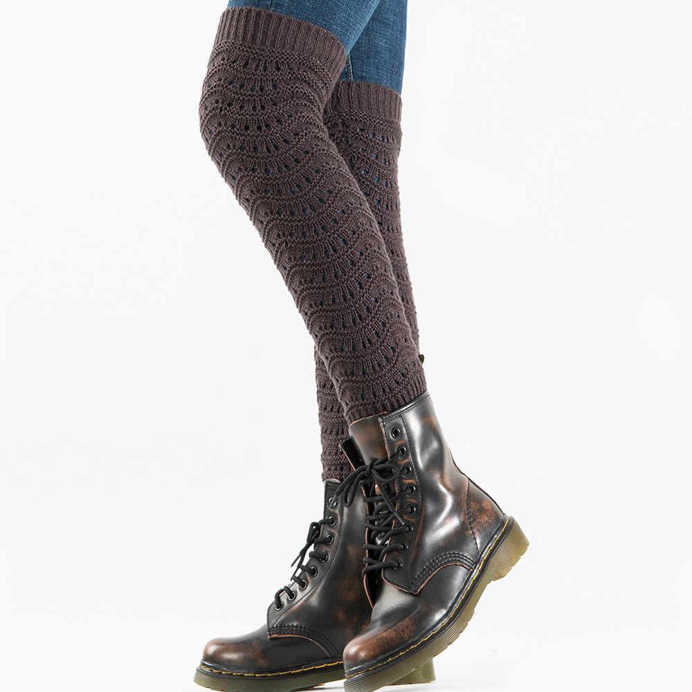 جديد المرأة أزياء خليط جورب الشتاء الدافئة الساق تدفئة مجموعة متنوعة من أنماط محبوك الكروشيه الجوارب تويست ثقب ترهل التمهيد الجوارب
