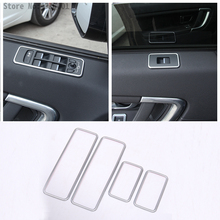 цена на ABS Chrome Car Window Lift Switch Decoration Frame Trim Stickers For Land Rover Discovery Sport 2015-2017 Car-Styling