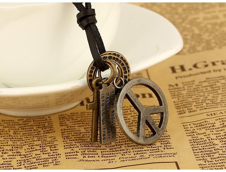 Antik Vintage Cross Dog Tag Hollow Peace Symbol Hänge Halsband män - Märkessmycken - Foto 6