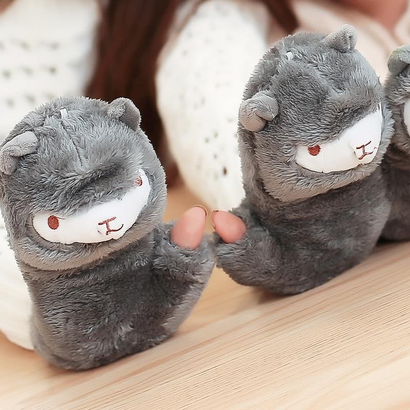 New Women Girls Gift Winter Warm Gloves Cartoon Alpaca Ear Cute Fleece Casual Fingerless Wrist Gloves Mittens with Cover Caps