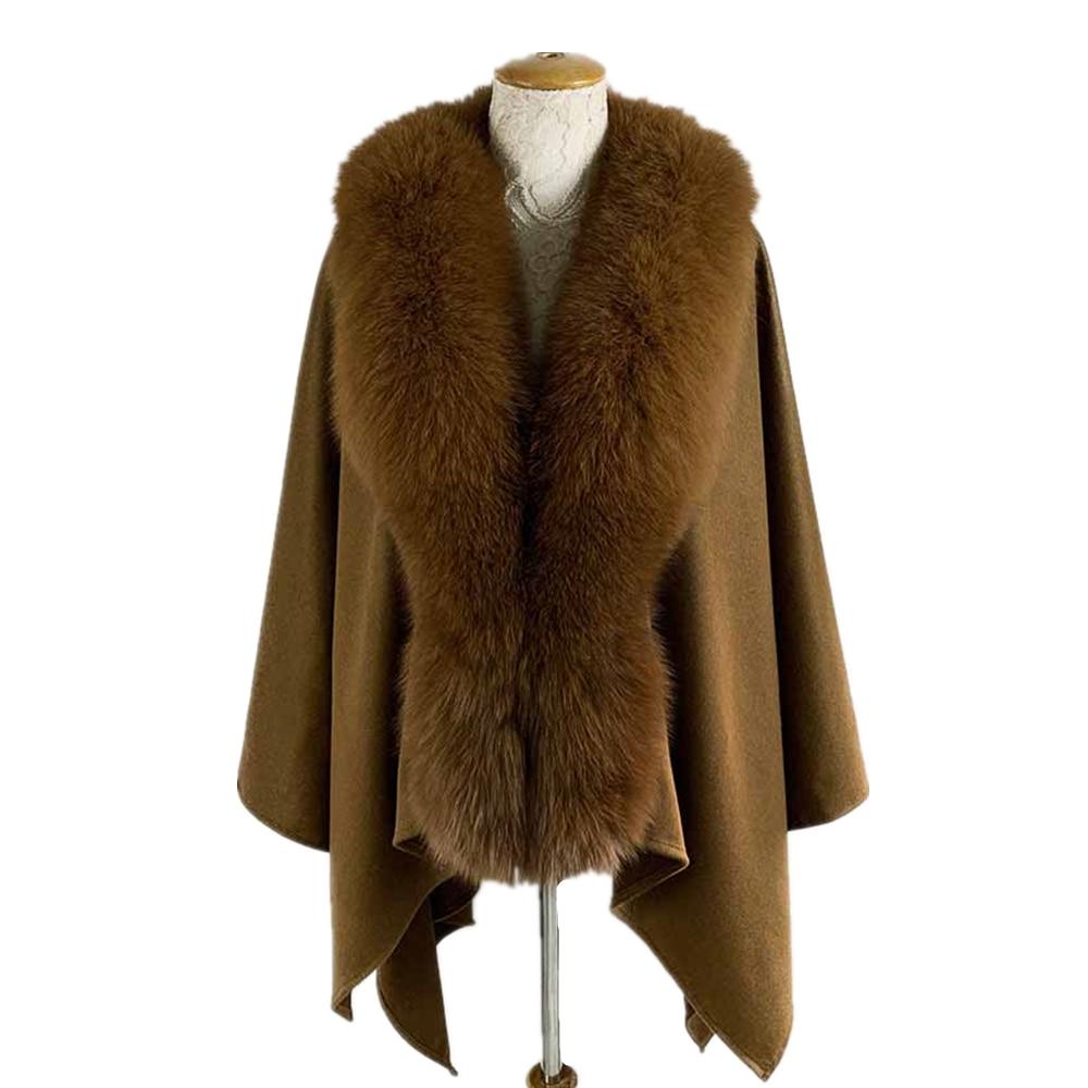 TOPFUR 2019 New Fashion Winter Female Cape Brown Real Fur For Women V-Neck Three Quaeter Fox Outerwear Bat Sleeved