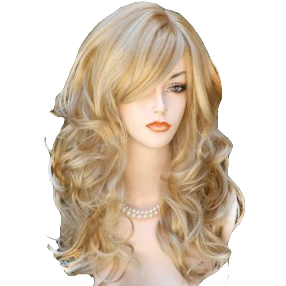 QQXCAIW Long Wavy Curly Natrual Blonde  60 Cm Synthetic Hair Wigs
