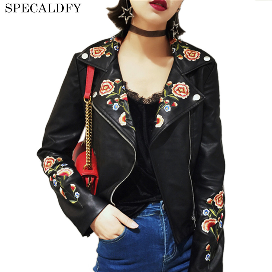 2018 Autumn Winter Ethnic Floral Embroidery Black Leather Jacket