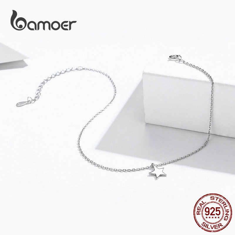 Bamoer, простой дизайн, звезда, серебряный ножной браслет для женщин, серебро 925 пробы, браслет для лодыжки и ног, модное ювелирное изделие для ног SCT009