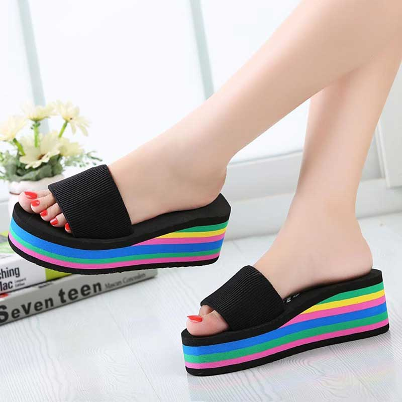 2512097c3984 Designer Wedges Slippers Women Platform Sandals Wedge Slippers Slides  Rainbow Summer Thick Heel Ladies Shoes