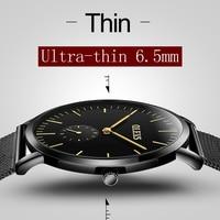 Ultra Thin Watch OLEVS Luxury Brand Male Watches Black Steel Bracelet Business Quartz Wristwatch Waterproof High