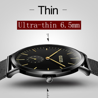 Ultra Thin Watch OLEVS Luxury Brand Male Watches Black Steel Bracelet Business Quartz Wristwatch Waterproof High