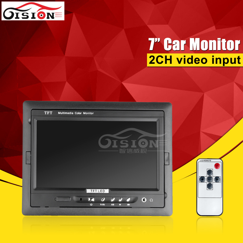 Car Rear View System 7 inch AHD Car Monitor 2 Video Input Color LCD Car Reverse Rearview Monitor For Camera / Dvr цены