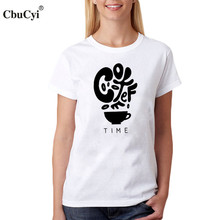 CbuCyi Coffee Time Women T-Shirt Coffee Trend Saying T Shirt For Coffee lover Letters Graphic Tee Shirt Femme Black White