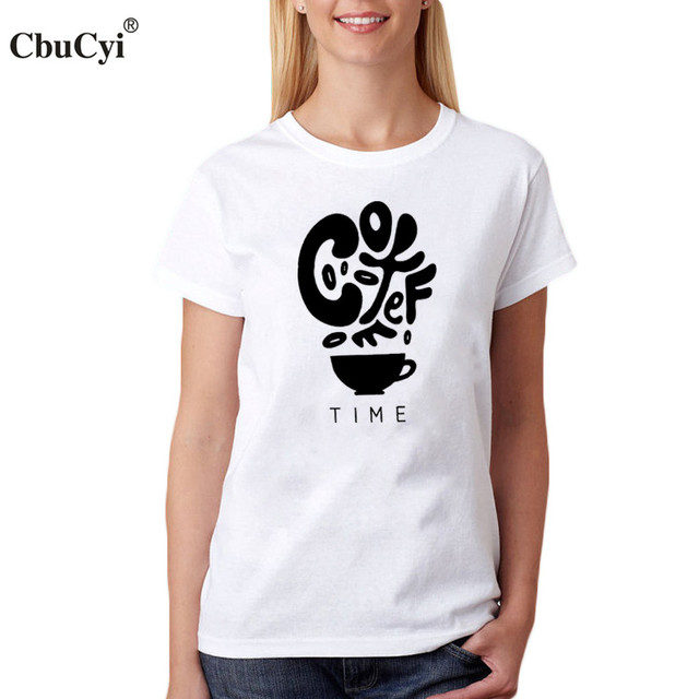 a500b561b CbuCyi Coffee Time Women T-Shirt Coffee Trend Saying T Shirt For Coffee  lover Letters Graphic Tee Shirt Femme Black White