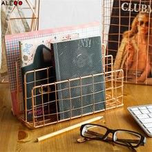 Metal Rose Gold Storage Basket Vogue Modern Chic Nordic Graceful Net Iron Desk Magazine Newspaper Book Organizer Storage Basket