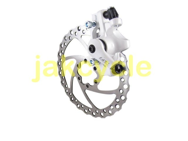 Jak-5 Bike Bicycle Mechanical Disc Brake Caliper 160R(180F) Rear White with Pads + ZDE 160mm Rotor
