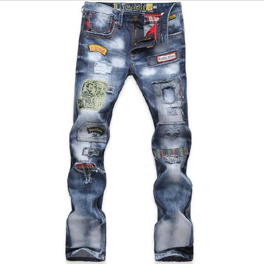 New personality popular clothing style hole patchwork jeans autumn and winter fashion men straight beggar trousers blue pants  цены онлайн