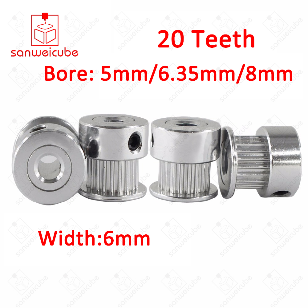 3D Printer Parts GT2 20Teeth 20 Teeth Bore 5mm/6.35mm/8mm Timing Alumium Pulley Fit for GT2-6mm Open Timing Belt 3D Accessories powge 8pcs 20 teeth gt2 timing pulley bore 5mm 6mm 6 35mm 8mm 5meters width 6mm gt2 synchronous 2gt belt 2gt 20teeth 20t