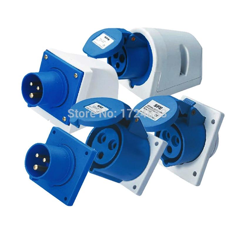 16A 3 Pole Connector Industrial Male&female Sockets SFN-113/SFN-313/SFN-413/SFN-513/SFN-613 Waterproof IP44 220-240V~2P+E