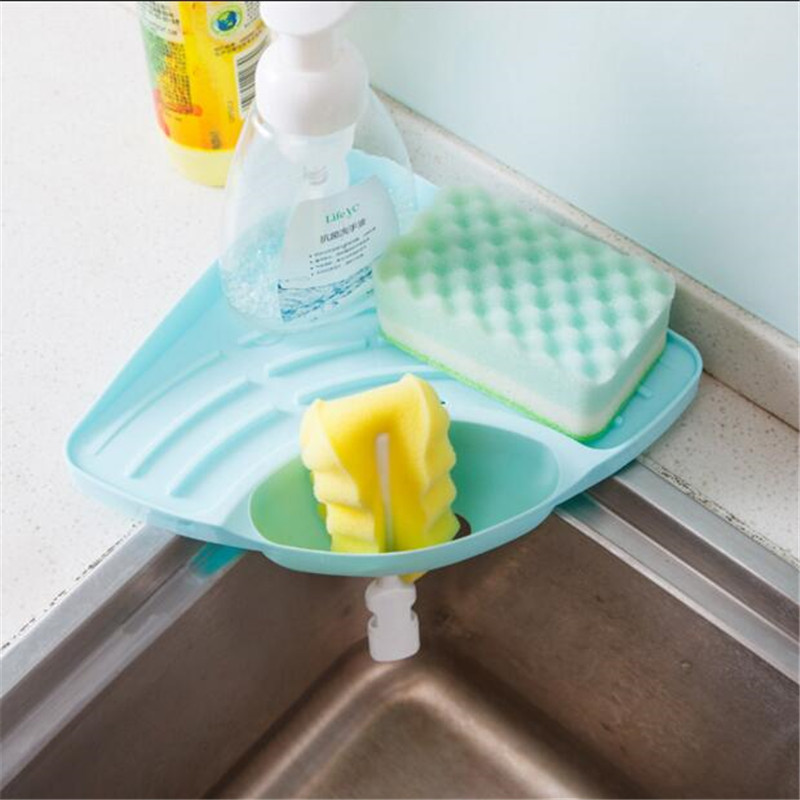 Дома треугольные раковина стойки стеллажей раковины губку Подставка для хранения мусора Кухня многоцелевой посудомоечная машина дренажны...