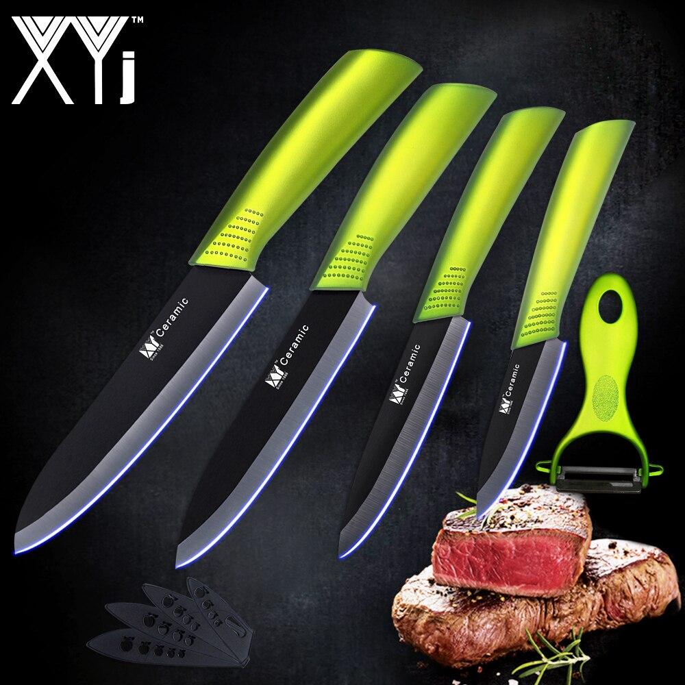 Högkvalitativ keramisk knivsats 3 4 5 6 tums svart blad Green Handle - Kök, matsal och bar