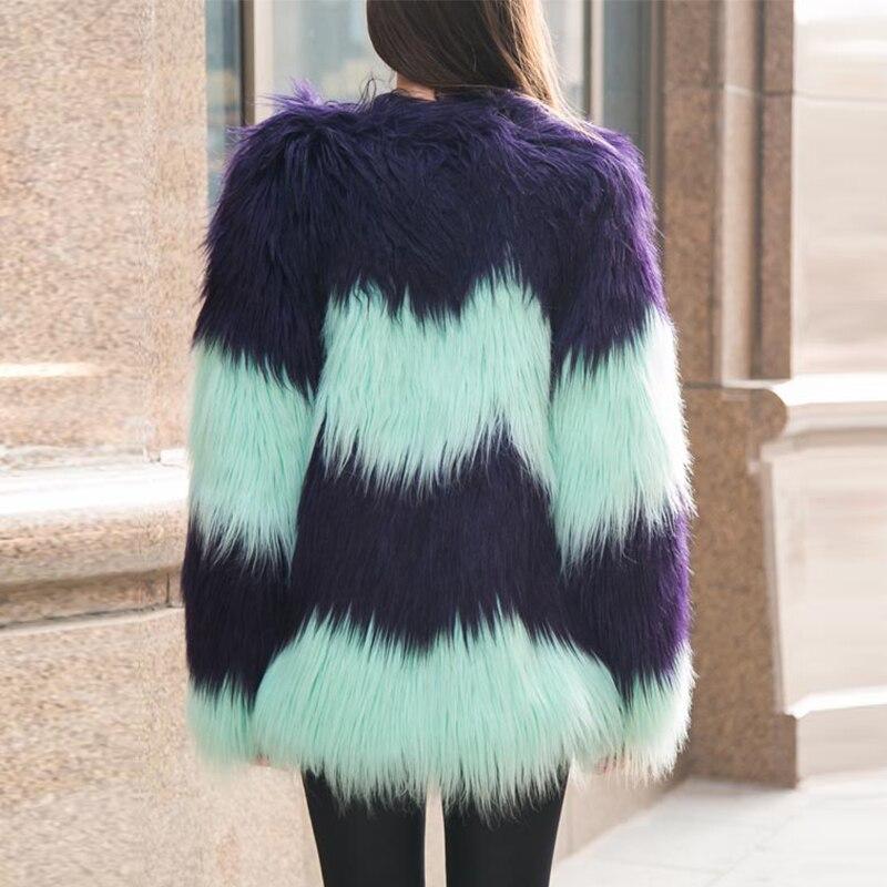 2019 Baru Kedatangan Fashion wanita Warna Bertahap Mantel Bulu Musim - Pakaian Wanita - Foto 4
