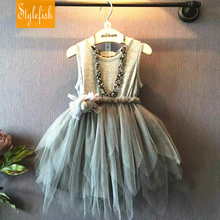 2016 New Female Baby European and American Style Dress Children Summer Cotton Splice Asymmetry Mesh Dress Hot Sale