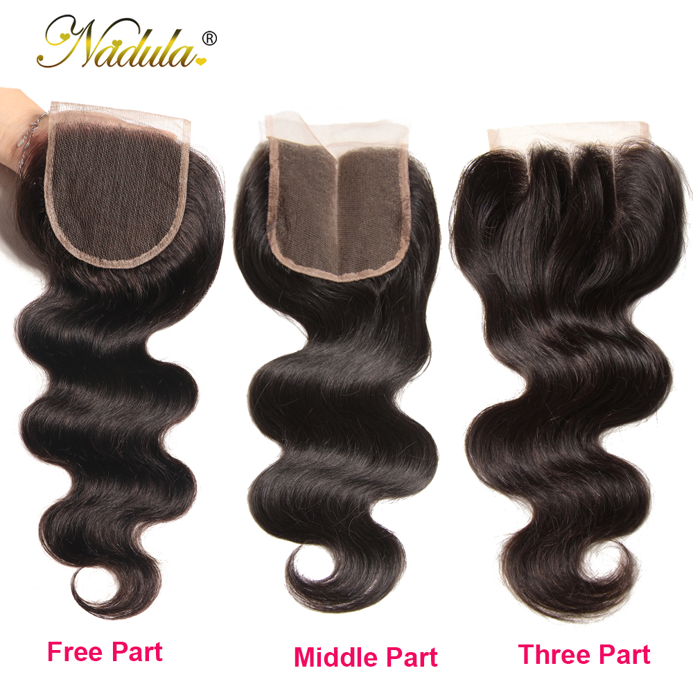 Nadula Hair 3 Bundles With 2Pcs Closures  Body Wave With Closure 100%  Bundles With 4*3 Lace Closure 4