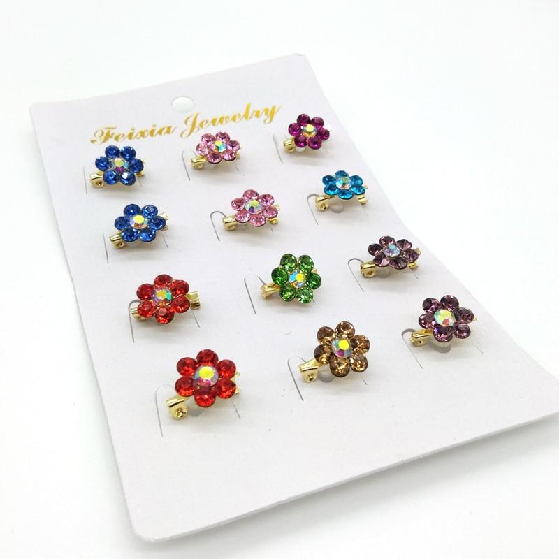 Mini Hijab Pins Crystal Flower Brooches Wholesale 12PCS/Card Muslim For Women Safety Scarf Pin Hijab Pins Gold Pin Mixed Designs