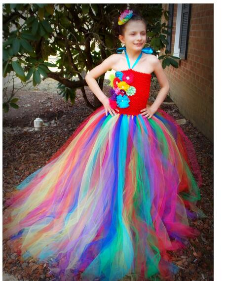 Girls Pageant Formal Dresses 2017 Handmade Gauze Gowns Floor Length Kids Halloween Party Dress Children's Long Dress Dancewear long criss cross open back formal party dress