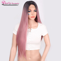 Doris beauty Ombre Pink Long Wig Blonde Synthetic Lace Front Wig Straight Hand Tied Dark Roots Light Green Heat Resistant Fiber