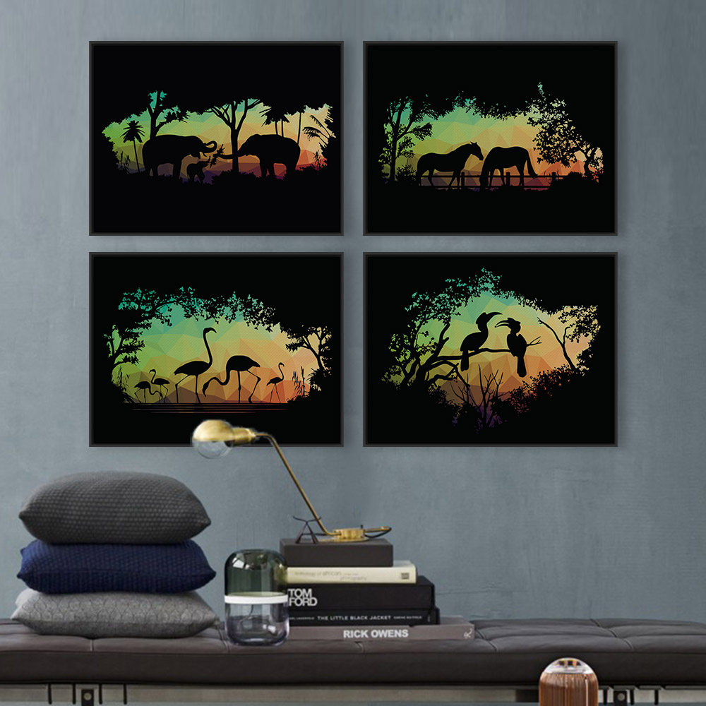 Modern Nordic Lion Animal Silhouette Deer Horse Portrait Canvas A4 Elephant Big Poster Print Wall Art Living Room Decor Painting