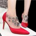 2016 nova moda diamond Mulheres apontou alta-sapatos de salto alto fino com sexy sapatos de casamento Das Mulheres de prata sapatos de noiva Mulheres bombas 1249