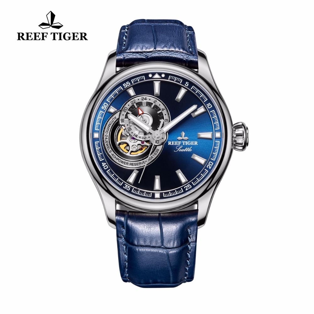 Reef Tiger/RT Causal Watch for Men Genuine Leather Strap Tourbillon Quartz Analog Wrist Watch Blue Dial Watches RGA1639 super speed v0169 fashionable silicone band men s quartz analog wrist watch blue 1 x lr626