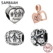 Sambaah Family House Heart Charm 925 Antique Sterling Silver Together Beads fit Original Pandora Mother Home Bracelet