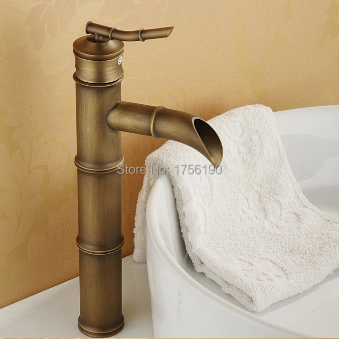 Free shipping vintage bamboo style faucet antique brass taps bath ...