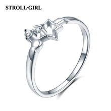 StrollGirl 925 Sterling Silver Dazzling CZ Star adjustable Ring Open Finger for Women Luxury Jewelry