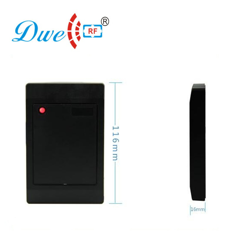 DWE CC RF ISO 14443A 13.56mhz rfid access control ip65 weigand 26 wiegand 34 card reader scanner outdoor mf 13 56mhz weigand 26 door access control rfid card reader with two led lights