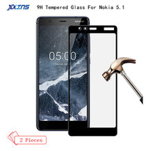2Pcs Tempered Glass For Nokia 5.1 Full Screen Cover Protector for smartphone 5.5 inch nokia5.1 9H Protective Film 2018 new style