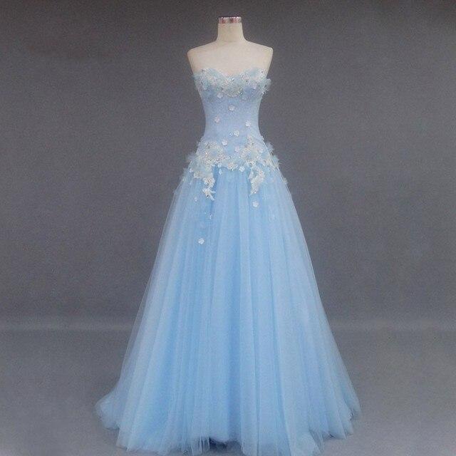 Light Blue Strapless Long Formal Dresses