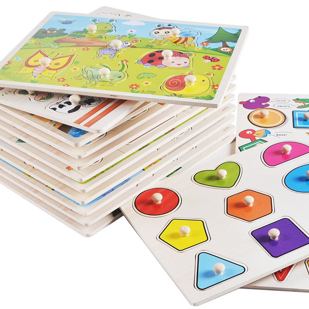 Baby Wooden Color Shape Learning Toy Hand Grab Board Set Baby Early Educational Cognition Wooden Toys Puzzle Child Birthday Gift