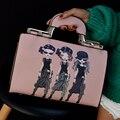 Boston Saco de Caracteres Impressos PU Médio Bolsa de Couro Tote Bolsas Femininas Sacos Crossbody Para Mulheres Bolsa de Marcas Famosas Sac 2016