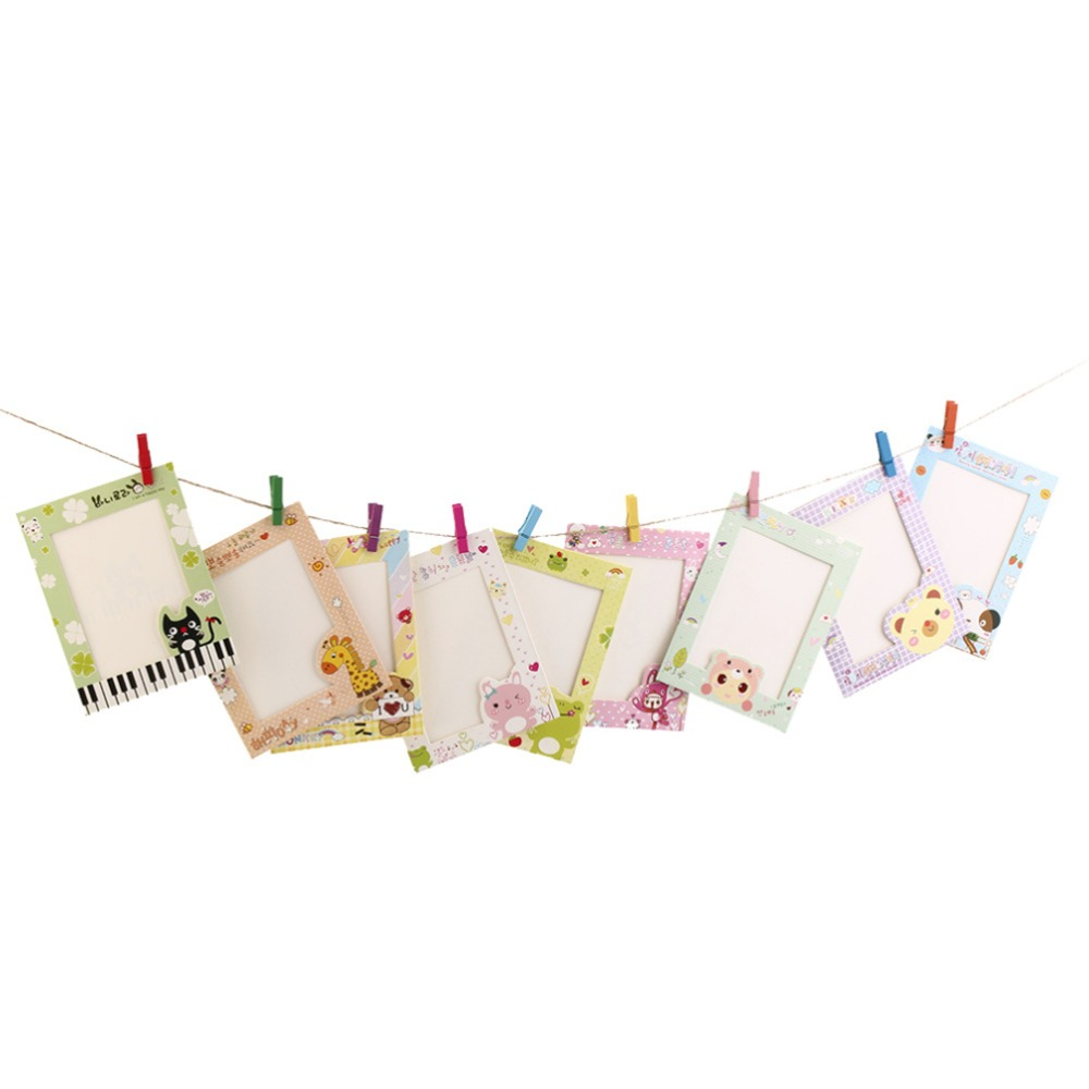 9Pcs/set House Decor Gift with rope clips Cartoon Animal Photo Frame DIY Wall Hanging Paper Photo Frame Wall Picture Album