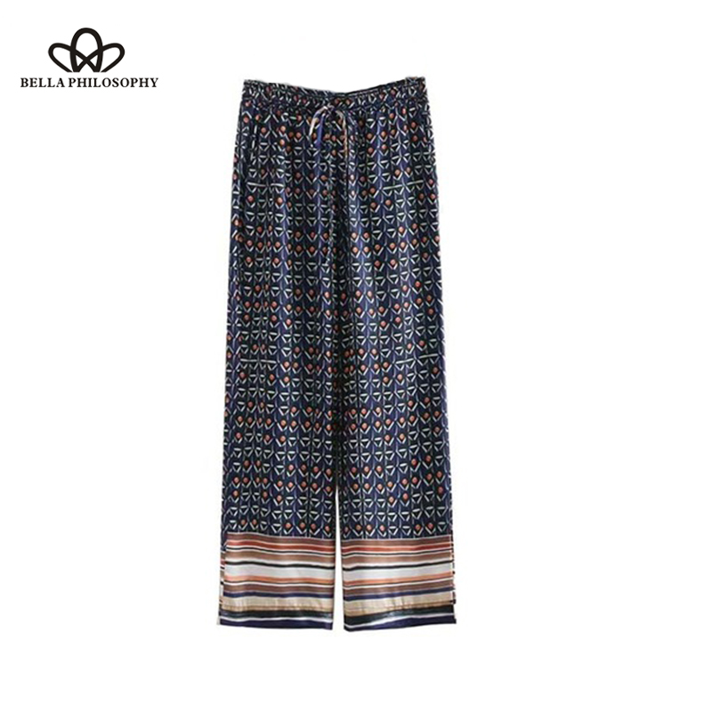 Bella Philosophy women fashion print   wide     leg     pants   pockets elastic waist Drawstring tie ladies casual trousers pantalones mujer