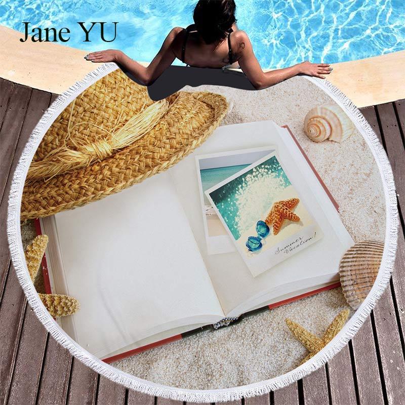 JaneYU 3D beach scenery picnic mat tassel tapestry surrounding towel curtain yoga 150cm qualitiy